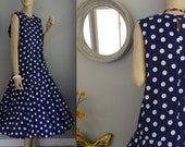 Drop Waist Full Circle skirt Sundress Hand made Sleeveless Polka Dot Dress M-L