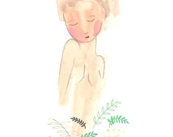 Nude watercolor print painting girl illustration natural 5 x 7 art