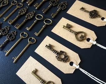 Skeleton Key Wedding Favors 60 Antique Bronze Skeleton Keys & 60 Kraft Tags Key To A Happy Marriage Escort Cards Keys To Wedlock