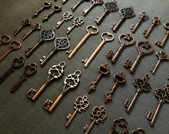 Keys to the Kingdom - Skeleton Keys - 76 x Antique Keys Vintage Keys Antique Copper Skeleton Key Skeleton Keys Set