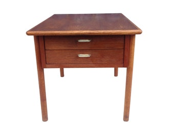 Danish Modern 2-Drawer Wood Side Table