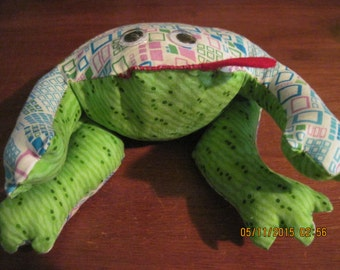Theraputic (hot or cold) White,Pink,Blue Squares w/ Lime Green Belly Frog,Home Decor,Table Top,Mantle...HAND MADE..OOAK...Orginial Design