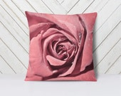 Rose Pillow Pink Home Decor,  Pink Decorative Throw Pillow, Romantic Decor, Pale Pink Pillow - 16x16, 18x18, or 20x20 Throw Pillow