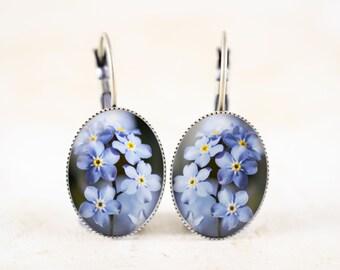 Forget-Me-Not Earrings - Blue Flower Earrings, Woodland Jewelry Earrings, Forget Me Not Flower Jewelry, Woodland Flower Dangle Earrings