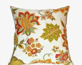 CIJ SALE Multicolor 16x16 Decorative Pillow Cover Off White Background With Red, Tangarine, Green, Blue & Mustard Yellow
