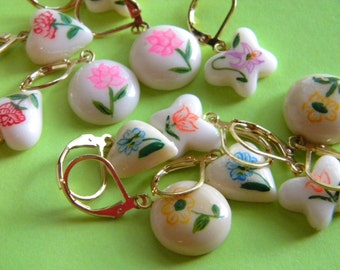 Hand Painted Lucite Flower Earrings Made from Vintage Beads