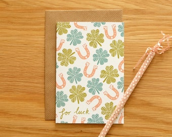 Illustrated 'For Luck' Card