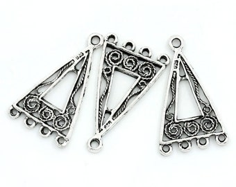 6 Antique Silver TRIANGLE Swirl Design Connector Link Charms, 25x15mm, chs1776