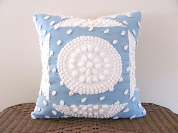 Target Shabby Chic Pillow Cases : Blue pillow cover WHITE TARGET chenille blue cushion cover 18