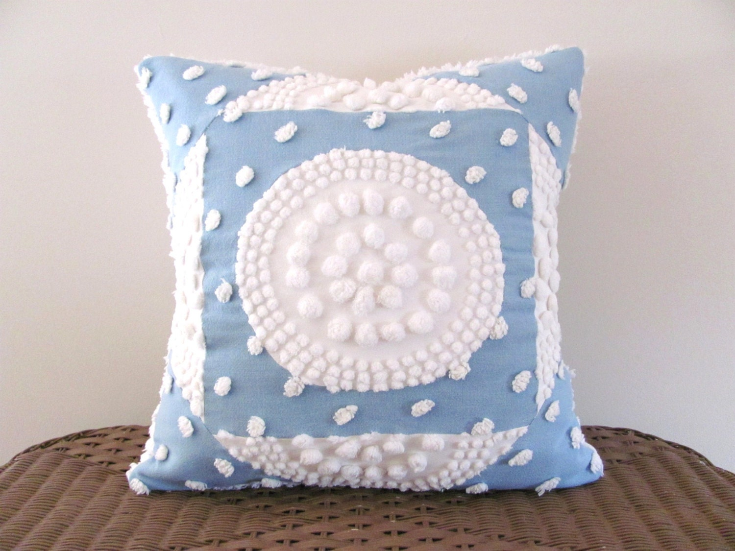 Shabby Chic Chenille Pillows : Blue pillow cover WHITE TARGET chenille blue cushion cover 18