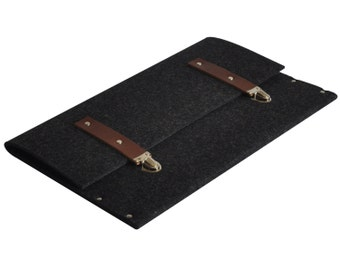 Black Bag for MacBook 12 inch. Synthetic felt briefcase case cover with leather straps