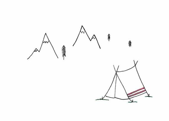 Line Art Limited : Simple line art limited edition print in the mountains