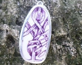 Broken China Necklace Pendant Chaney Sterling Purple Mulberry Branches Pendant