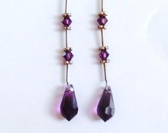 Amethyst Crystal Dangle Earrings Handmade February Birthstone Earrings Birthstone Jewelry Beaded Earrings #762