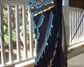 Belly Dance Beaded Embroidered Sheer Black Tie Skirt Shawl