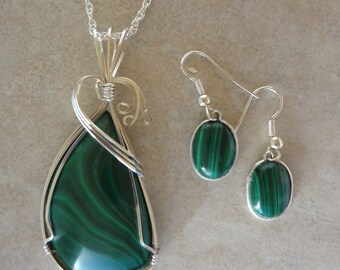 Malachite Pendant and Earrings