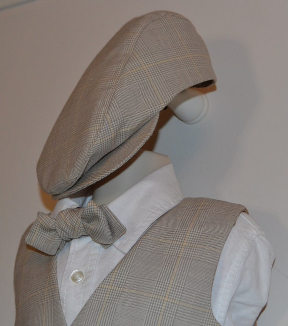 Knickerbocker pant, bow tie, vest and cap set for toddlers, Size 2T, handmade original USA, early america wedding vintage wedding style