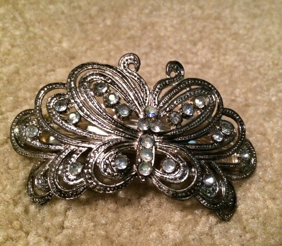 Vintage Beautiful Butterfly Hair Clip with Rhinestones