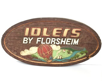 Vintage Advertising Sign, Florsheim Shoes, Hot Air Balloon