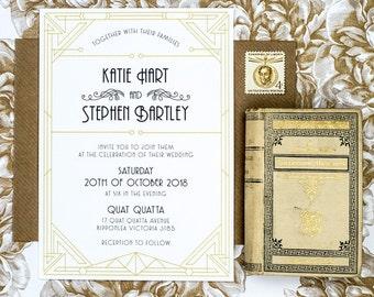 Old Vintage Glamour Wedding Invitation Printable Art Deco