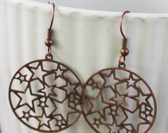 Copper Star Earrings - Antique copper, gypsy earrings, gyspy jewelry, star jewelry, medallion earrings, celestial earrings, lightweight