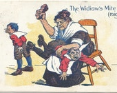 The Widiow's Mite (might) Spanking Child Over My Knee Vintage Postcard Comic Undivided Back 100 years old Pre-1907