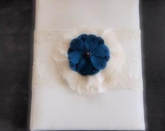 Wedding Memory Book Album Ivory Teal Blue Purple