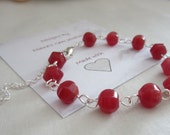 Pinky, Red, Natural, Ruby, nugett, link chain bracelet -July birthday- 085 -UK SELLER