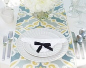 Grey Table Runner - Grey Wedding Linens - Grey Table Topper - Harford Grey & Yellow Table Runner