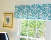 Blue Window Valance - Window Valance - 52 x 16 Valance - Window Treatment - Raji Coastal Blue Window Valance with Ruffled Top