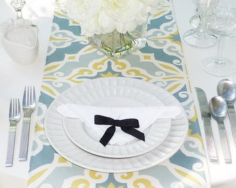 Choose your Table Runner, Grey Table Runner - Grey Wedding Linens - Grey Table Topper - Harford Grey & Yellow Table Runner