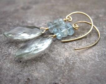 Moss Aquamarine Green Amethyst Facetted Drop Earrings