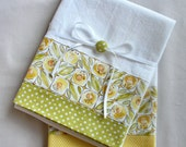 Kitchen towel with lemon yellow and green cotton accent - set of two flour sack towels