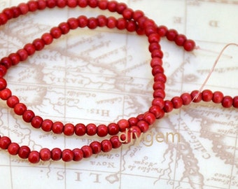 1-10strands Round turquoise beads, Dark Red Turquoise Stone , Full One Strand, Loose Turquoise Beads 4mm, Small Turquoise Strand