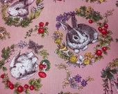 Rabbit and berry, orange-pink, 1/2 yard, pure cotton fabric