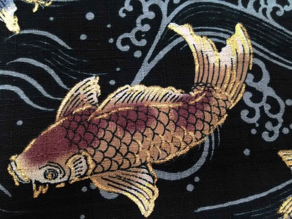 Koi fish on ivory gold metallic fat quarter pure by for Black and gold koi fish