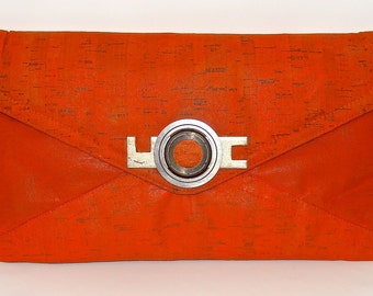 Orange Bamboo Clutch Purse with Strap Hand Painted Upcycled Recycled with Camera Lens and Hardware