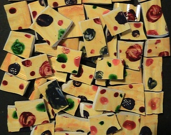 Hand Painted Aunt Dot's Sunshine Mosaic Tiles FREE SHIPPING
