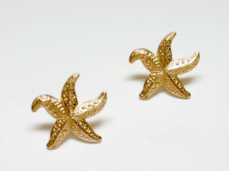 vintage gold starfish earrings retro by plasticpinkflamingos
