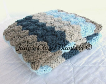 Crochet Baby Blanket, Baby Blanket, Blues and Greys, crib size