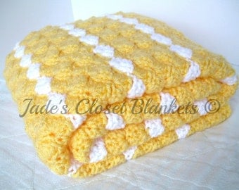 Crochet Baby Blanket, Baby Blanket, Crochet Yellow Baby Blanket, Yellow and White, crib size