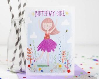 Birthday Girl Card - Birthday Card - Card For Daughter - Birthday Card For Sister - Birthday Card For Tween - Brown Hair Birthday Girl
