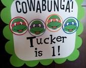 TMNT birthday door sign.  TMNT door sign.  Teenage Mutant Ninja Turtle birthday