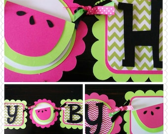 Pink and Lime Green Watermelon banner, Girls Birthday banner