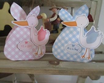 Stork Baby Bundle Favor Box Set of 12