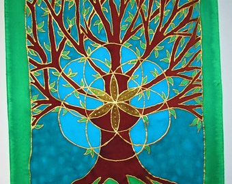 Tree of Life silk art wallhanging,spiritual gift, tree art, tree wallhanging, seed of life,metaphysical,spiritual,sacred geometry,yoga,reiki