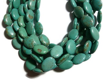 Turquoise Magnesite - Puffed Oval - 18mm x 13mm - 23 beads - Full Strand