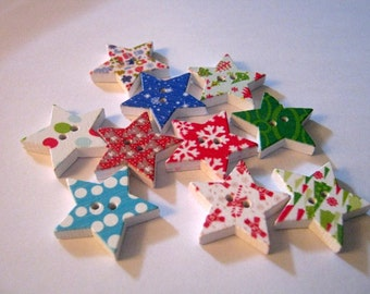 10 Star Christmas Two Hole Wood Buttons