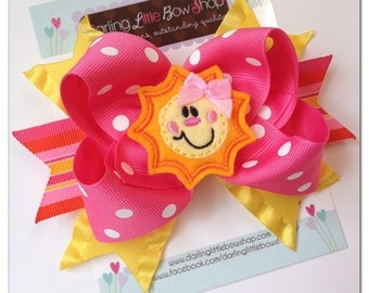 Sunshine Bow - You Are My Sunshine - Hot pink, yellow and orange hairbow with adorable, sun center by Darling Little Bow Shop
