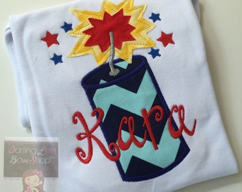 Girls shirt, tank top or bodysuit for 4th of July -- BOOM BOOM POW -- red, white and blue fireworks